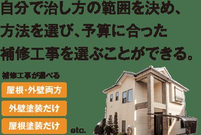 お家や予算に合う最適な治し方を選べる