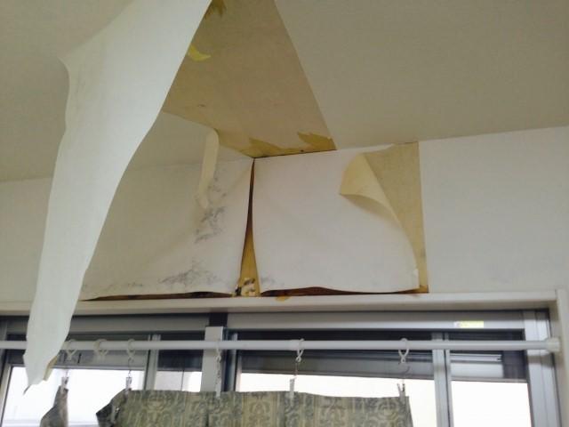 雨漏りで剥がれた内壁壁紙
